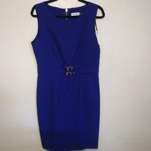 NWT Calvin Klein blue & gold hardware shift dress